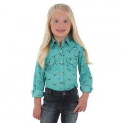 Wrangler Girl's Aqua with Longhorn Western Shirt