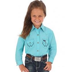 Wrangler Girl's Western Shirt Turquoise