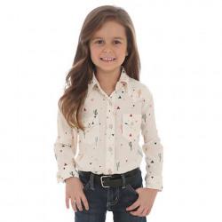 Wrangler Girl's Cactus Print Snap Western Shirt