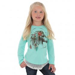 Wrangler Girls Turquoise Brown Pony Top