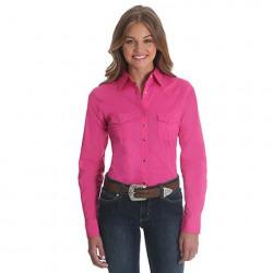 Wrangler Ladies Solid Pink Western Shirt