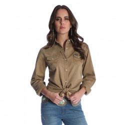 Wrangler Ladies Solid Tan Western Shirt
