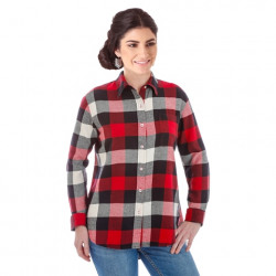 Wrangler Ladies Red Black Flannel Check Button Shirt