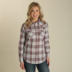 Wrangler Women's Metallic Plaid Western Snap Shirt
