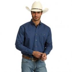 Wrangler Men's Classic Navy Print Western Shirt