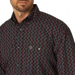Wrangler George Strait Two Pocket Shirt Red Black Geo Print Shirt