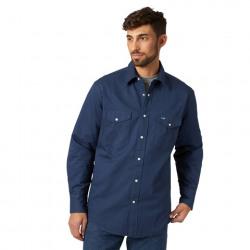 Wrangler Men's Flannel Lined Navy Snap Work Shirt