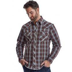 Wrangler Men's Turquoise Brown Plaid Western Shirt