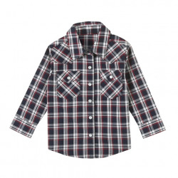 Wrangler Boys Navy Plaid Long Sleeve Shirt