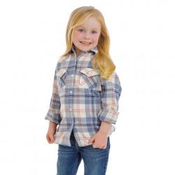 Wrangler Girl's Blue Pink Flannel Western Shirt