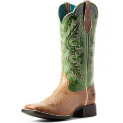 Ariat Ladies Breakout Dark Tan Treetop Green Western Boot