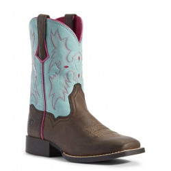 Ariat Youth Tombstone Bay Brown Bell Blue Western Boots