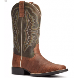 Ariat Youth Ace Cognac Croc Print Western Boot