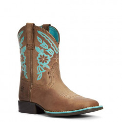 Ariat Youth Cattle Cate Distressed Brown Turquoise Western Boots