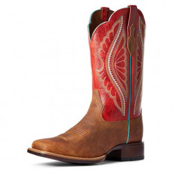 Ariat Ladies Prime Time Natural Crunch Flame Red Western Boot