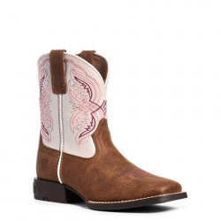 Ariat Youth Double Kicker Pink Tan Western Boots