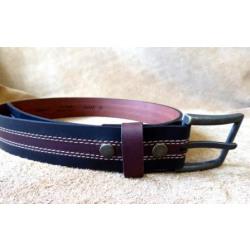 Bison Men's Black Burgundy Two Tone Belt 64262