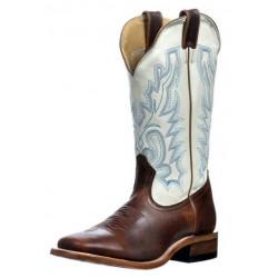 Boulet Ladies Lucious Bone Wide Square Toe Cowboy Boots