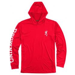 Browning Team Spirit Long Sleeve Hooded Shirt Red