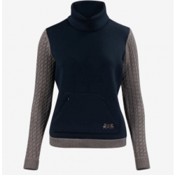 B Vertigo Ladies Grey Navy Jeanette Knitted Pullover