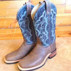 Canada West Ladies Brahma Saloon Blue Bison Western Boots