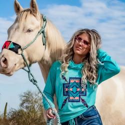 Cowgirl Tuff Turquoise Mosaic Print Slub Cowlneck Long Sleeve Tee