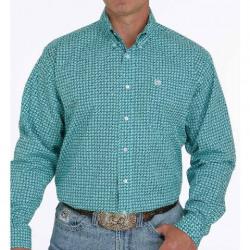Cinch Men's Turquoise Print Button Down Western Shirt