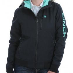 Cinch Ladies Black Turquoise Bonded Hoodie Jacket