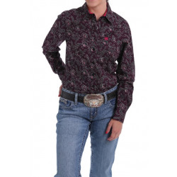 Cinch Ladies Black Fuchsia Paisley Button Western Shirt