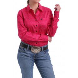 Cinch Ladies Tencel Fuchsia Geo Print Button Shirt
