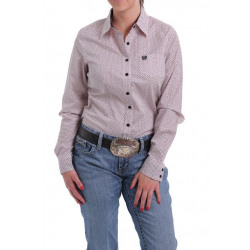 Cinch Ladies Pink Black Dot Button Western Shirt