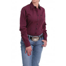 Cinch Ladies Black Fuchsia Striped Button Western Shirt