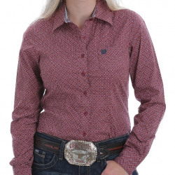 Cinch Ladies Rose Blue Gold Geo Print Button Western Shirt
