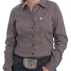 Cinch Ladies Tencel Brown Orange Teal Geo Design Button Western Shirt