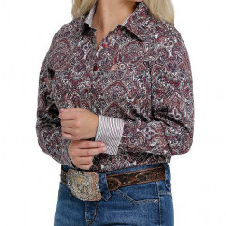 Cinch Ladies Red Teal Floral Paisley Print Button Down Western Shirt