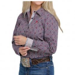 Cinch Ladies Burgundy Turquoise Pink Print Button Western Shirt