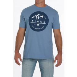 Cinch Men's Blue Circle Logo T Shirt
