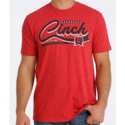 Cinch Men's Red Heather Logo Tee