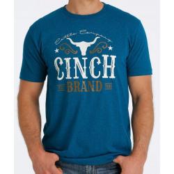 Cinch Men's Blue Heather Logo Tee