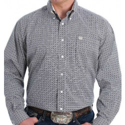 Cinch Men's Grey Black Gold Print Button Western Shirt
