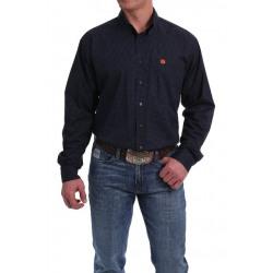 Cinch Men's Navy Black Orange Micro Geo Print Button Western Shirt