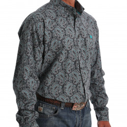 Cinch Men's Gray Turquoise Medallion Paisley Print Button Shirt