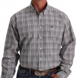 Cinch Men's Purple White Black Plaid Button Western Shirt
