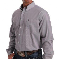 Cinch Men's Tencel Purple White Striped Button Western Shirt