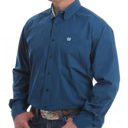 Cinch Men's Solid Gibraltar Blue Button Down Western Shirt