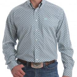 Cinch Men's Gray Light Blue Navy Diamond Print Button Western Shirt