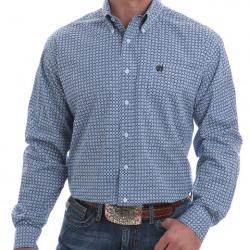 Cinch Men's Blue White Dot Print Button Western Shirt