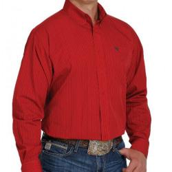 Cinch Men's Red Brown Stripe Button Down Western Shirt