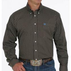 Cinch Men's Stretch Weave Brown Print Western Shirt