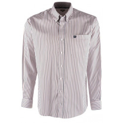 Cinch Men's Long  Sleeve White Blue Striped Western Shirt
